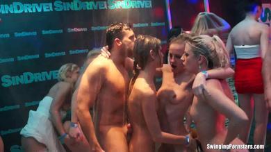 <p>Swinging Pornstars throat bj with spunk in mouth at the nightclub</p>