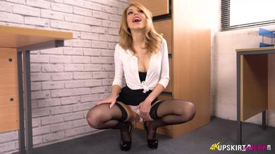 <p>Fabulous brunette office GF Eva flashes her Underwear upskirt on the Job</p>