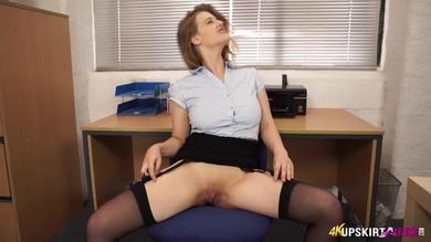 <p>Sexy British chick Lottii Rose vagina show at the office</p>